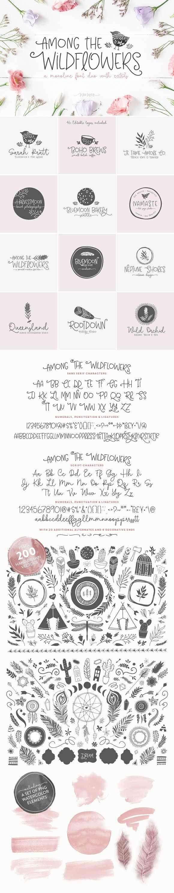 Among The Wildflowers | Font Duo by Callie Hegstrom on @creativemarket