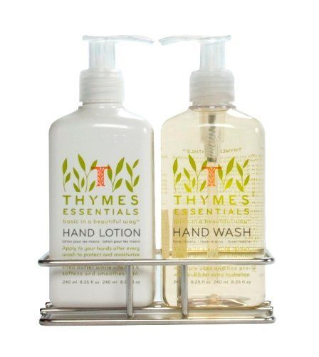 Thymes Sink Set, Chrome Caddy with Hand Wash and Lotion, Essentials by Thymes. Save 17 Off!. $25.00. 8.25 fluid ounces Hand Wash with mild cleansing lather rich in antioxidant vitamins C and E. 8.25 fluid ounces of ultra-rich Hand Lotion moisturizes with the power of glycerin and shea butter. Essentials fragrance is a refreshing blend of Italian tangerine, orange and lemon, red currant, dewy jasmine, petitgrain, Cyprus, a touch of sheer musk and sun-drenched grapefruit. Attra...