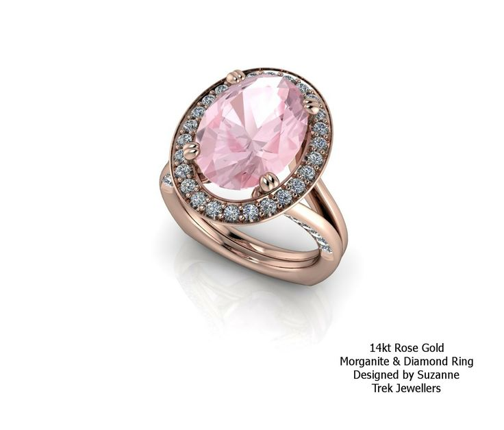 14kt rose gold set with an oval morganite that is surrounded with a halo of diamonds. Shank has a European shape with inset diamonds.