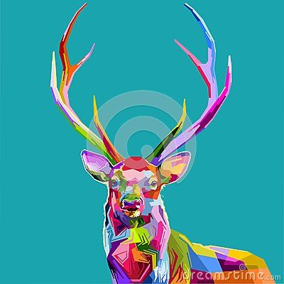 Deer in the picture in a beautiful colorful pop art style is perfect in the background or winter decoration.