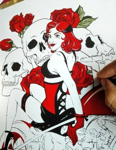 Ginger's Motorbike Skulls & Roses Road