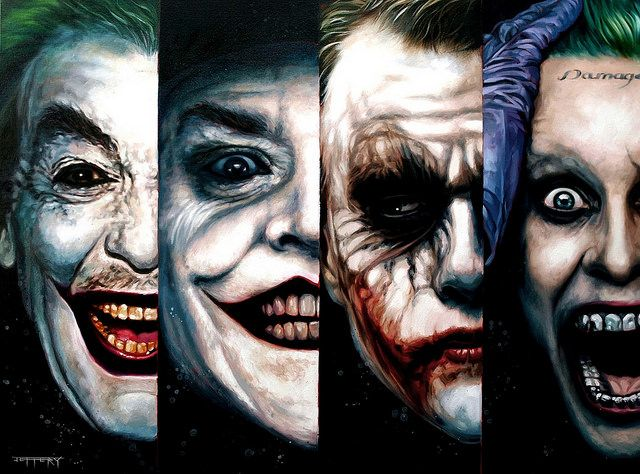The Joker Cesar Romero, Jack Nicholson, Heath Ledger and Jared Leto by Ben Jeffery
