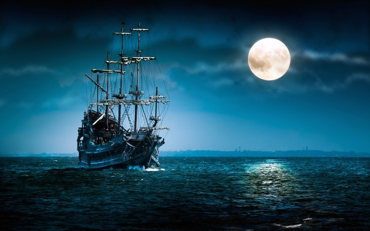 The Grim Adventures Of...: Sailing Ships, Tall Ships, Digital Art, Desktop Backgrounds, Full Moon, Blue Moon,  Pirates Ships, Night Sky, Sailing Boats