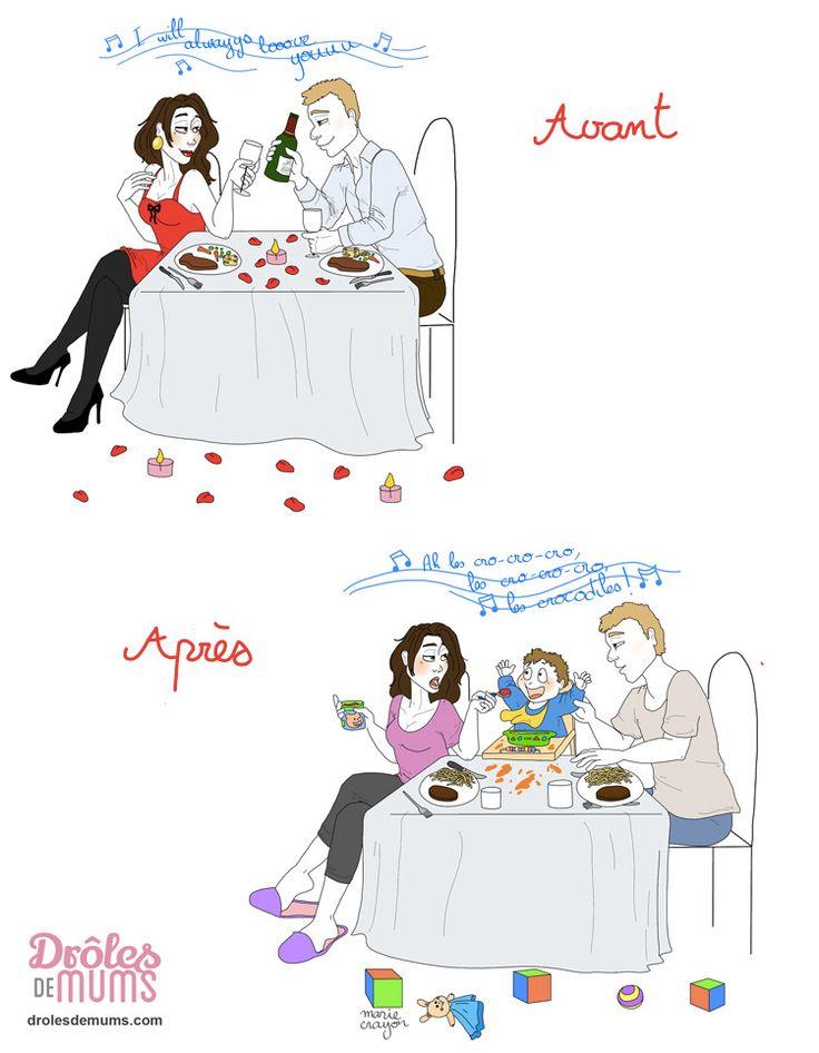 Joyeuse Saint Valentin les parents !  Ah, l'Amour ! Au début, on est deux, on le fête, on le célèbre… toutes les occasions sont bonnes, et la Saint Valentin est une sorte d'apothéose ! Et puis, un jour… on est plus de 2 pour la fêter, et là…  Et si tu veux voir toutes les illustrations de Marie Crayon, c'est par ici : http://drolesdemums.com/illustration-humour-marie-crayon