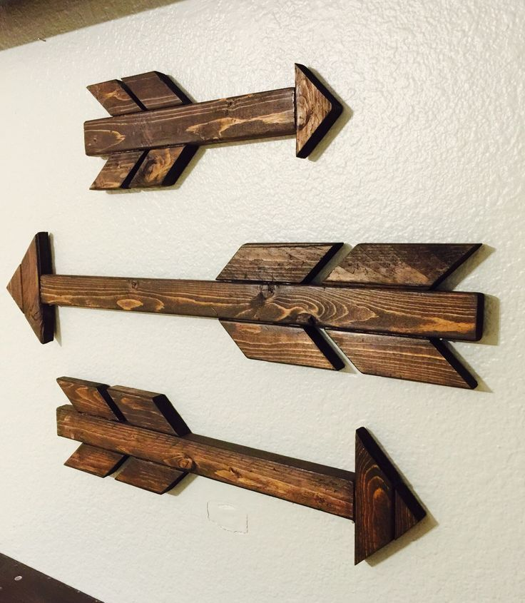 Three Wood Arrows Stained Arrows Home Decor Arrow Wall Art Rustic Home