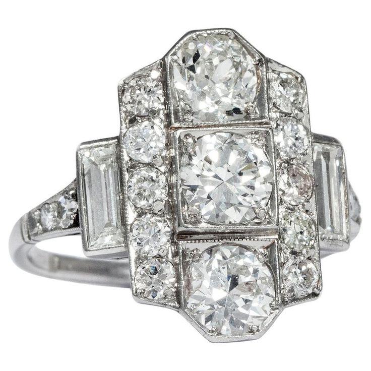 1stdibs – Circa 1930 Certified 2.25 Carat European Cut Ring Art Deco Diamond Platinum – 1stdibs
