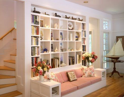 built in for my books & easy slip covered cushions you can change out with the seasons