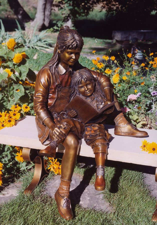 """Secret Garden"" sculpture by Mark Lundeen - photo by Lundeen Sculpture;  life-size"