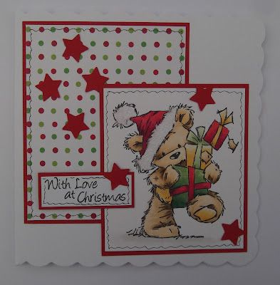 ink'n'rubba: LOTV James bear with pile of pressies, stamped image coloured with Copics for a simple Christmas card