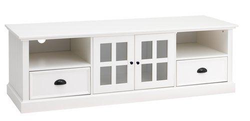 Regał TV AUNING 2 szufl./2 drzwi biały | JYSK