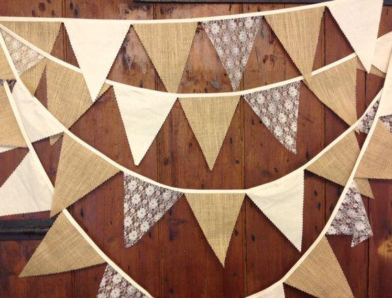 Rustic burlap calico lace wedding bunting 34ft por Spoonangels                                                                                                                                                                                 Más