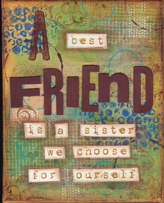 mixed media art. Best Friend by tatterednworn on Etsy, $18.00  love these colors!!