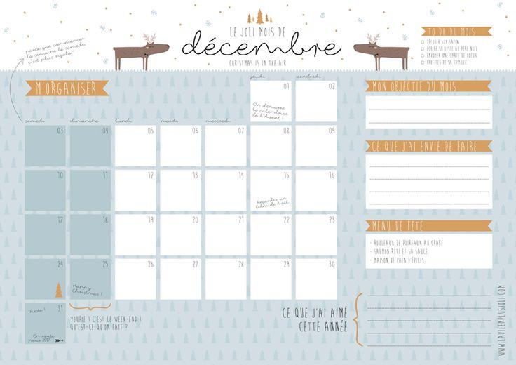 Calendrier de décembre à imprimer - Freebie et printable