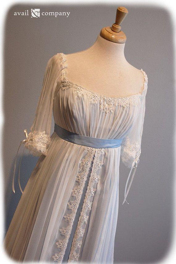 Blue Wedding Dress  Edwardian  Romantic  Custom Made  by AvailCo, $1950.00