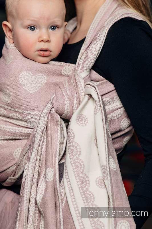 Baby Wrap, Jacquard Weave (60% cotton 28% linen 12% tussah silk) - POWDER PINK LACE - size XL