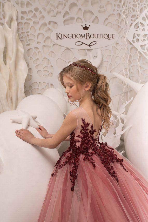 c5ff247f634c Blush Pink and Maroon Flower Girl Dress Birthday Wedding Party Holiday  Bridesmaid Flower Girl Blush Pink and Maroon Tulle Lace Dress 21-075 |  flower girl ...