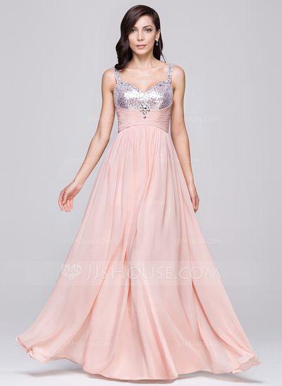 A-Line/Princess Sweetheart Floor-Length Chiffon Prom Dress With Ruffle Beading (018064188)