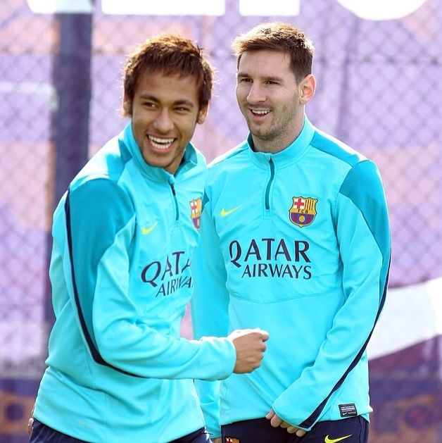 Neymar and Messi  Fc Barcelona training session