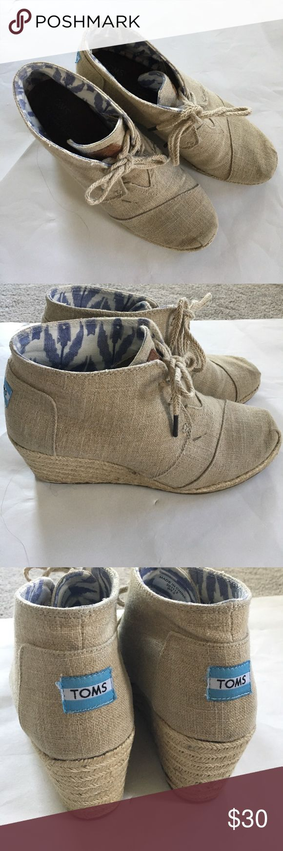 Toms wedges Toms wedges in hemp with espadrille bottom. Women's size 9.5. Worn a handful of times, still good condition and lots of life left! TOMS Shoes Wedges