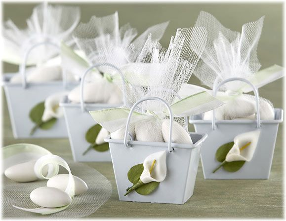 Sweet Idea For White Jordan Almond Favor Cala Lily Mini Pail And Almonds