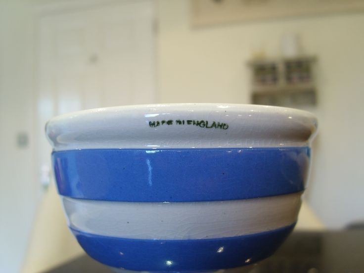 """Plain old """"Made in England"""" where nothing else will fit ! Here it is on a cornishware double egg cup."""