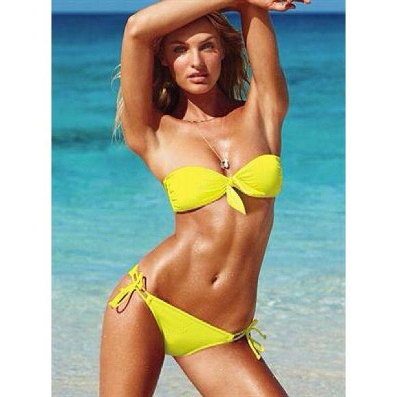 Knot tie yellow bandeau bikini top. TOP ONLY Victoria's Secret Swim Bikinis