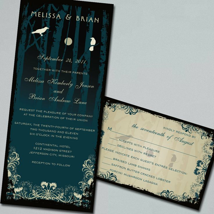 Gothic Wedding, Halloween Wedding Invitation Suite. $50.00, via Etsy.