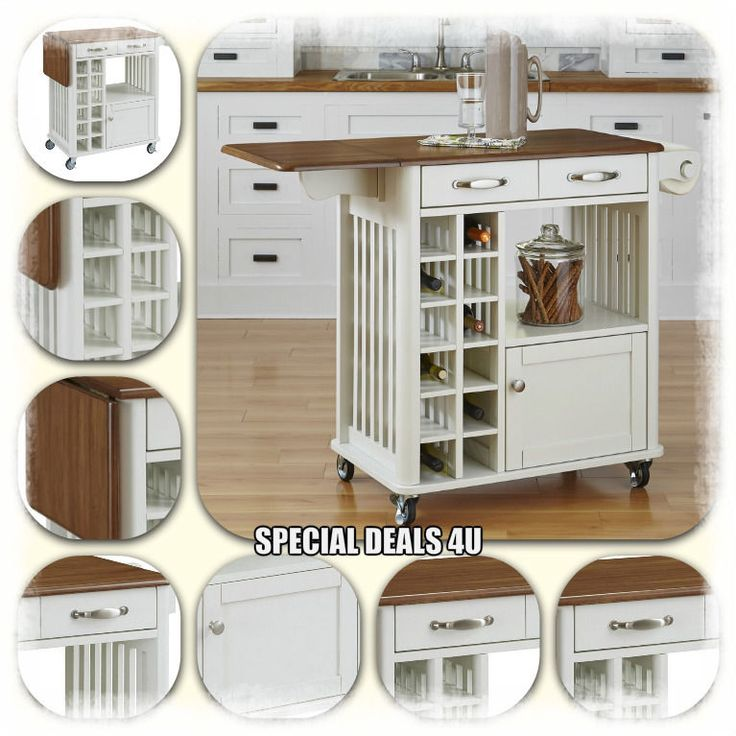 Kitchen Island Cart Portable Rolling Table Utility Storage Cabinet Shelves Wood