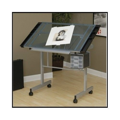 Glass-Drafting-Table-Desk-Artist-Craft-Drawing-Art-Mobile-Office-Adjustable-Top