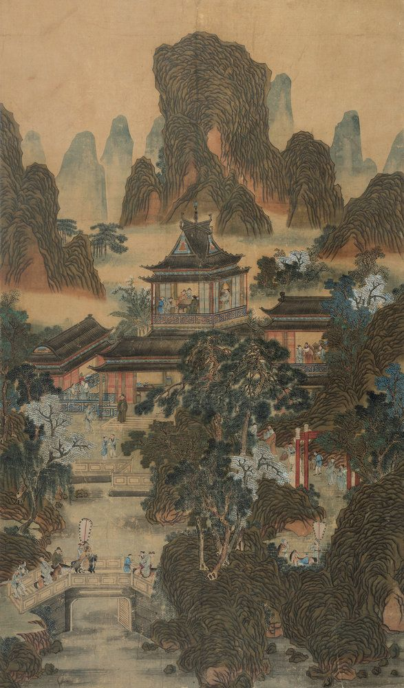 character and landscape by qiu ying ming dynasty