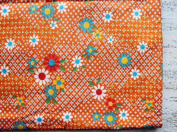 Vintage cotton fabric 1 6 yards in 1 listing blue orange for Retro nursery fabric