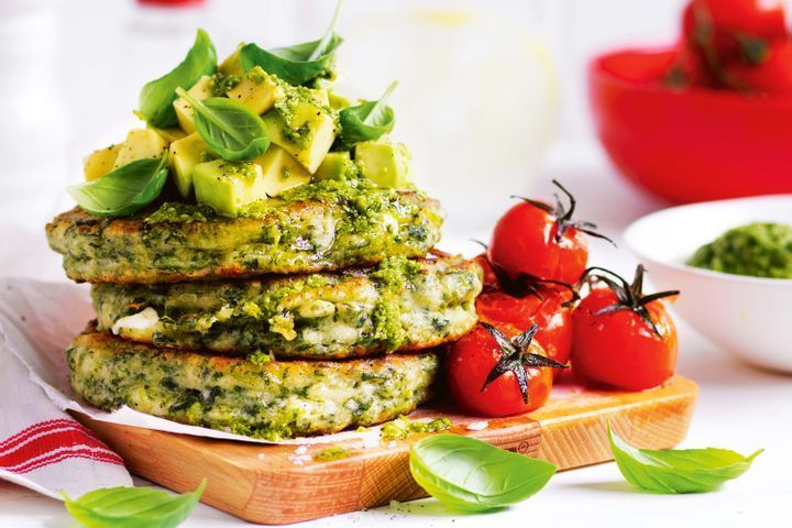 Spinach and feta fritters