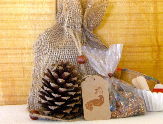 DIY Pinecone Bird Feeder Kit, Peanut Butter Pinecone, Burlap Craft Kit, Birding, Handmade Bird Feeder Kit