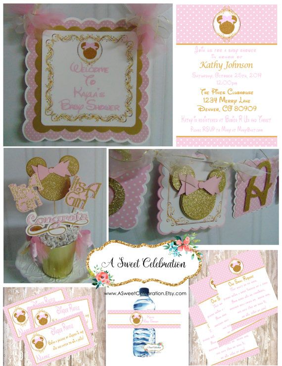 Minnie Mouse Baby Shower Party Package leopard zebra pink