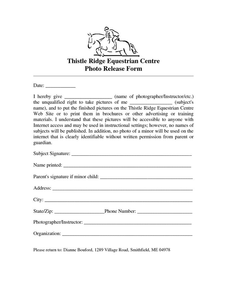 Sample Photo Release Form For Digital Florida  Camera  Photos