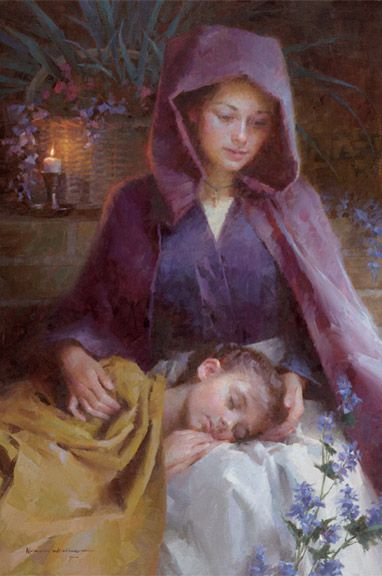 "Morgan Weistling has such a depth and warm in his representation of lives most basic and simple moments. In the painting "" Sanctuary "" depicts the safety of a woman's lap for a child, whether it be Mother, Grandmother, Sister, Nanny, Etc.... -"