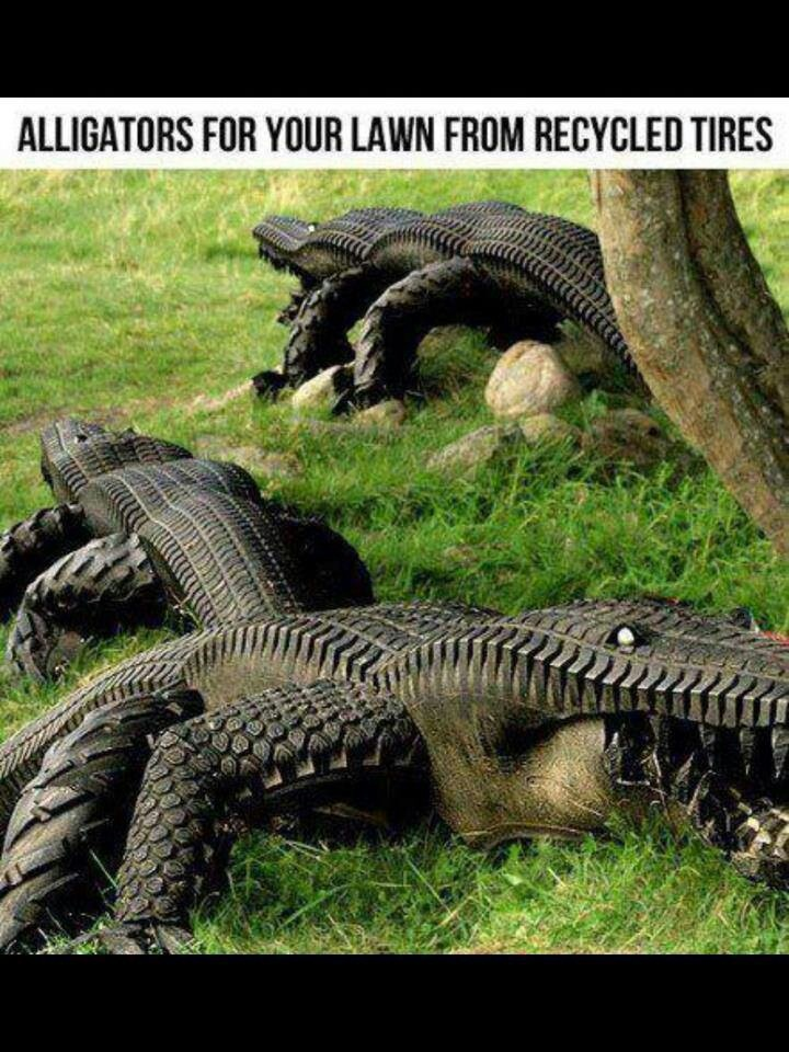 Lawn Ornaments RECYCLED TIRES! Don't want it in my yard but how amazing!