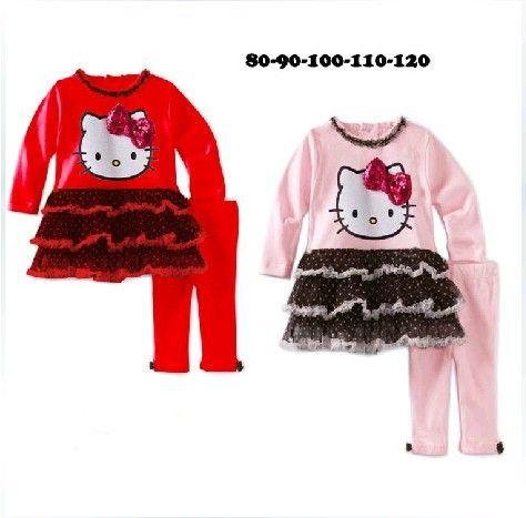 Девочки kt комикс прекрасный торт верхний + брюки 2 шт. комплект девочки-младенцы hello kitty пачка пряжа одежда костюм детская одежда