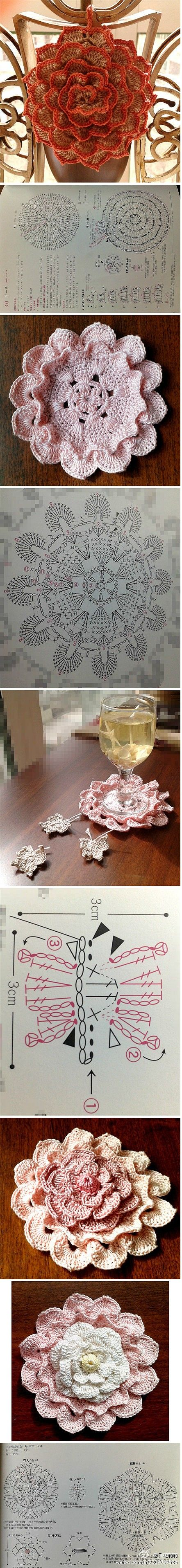 crochet flowers - potholder and coasters and... butterflies!