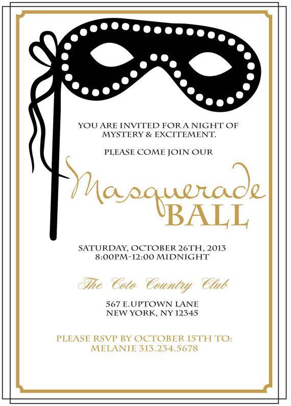 Modern Masquerade Ball Invitation by LovebyThreeConcepts on Etsy