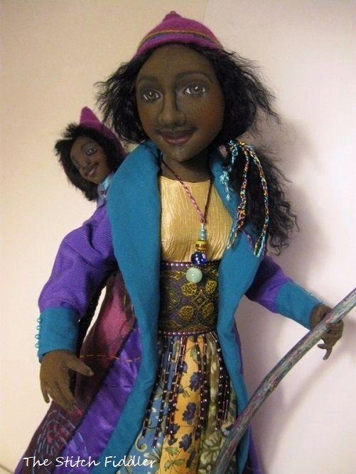 ~The Stitch Fiddler~ The Traveler Doll made by Bethann Scott. Angela Jarecki doll class.