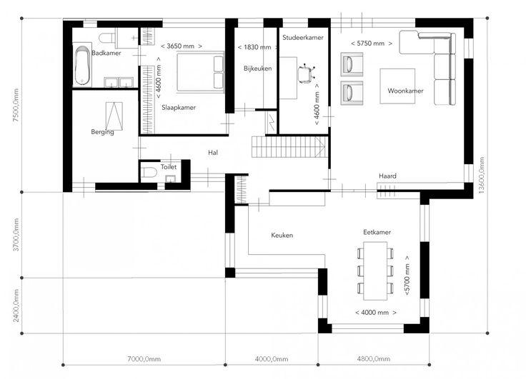 Dit ontwerp is een eigentijdse vertaling van een compacte riet gedekte villa. De antraciet gekleurde kozijnverdeling is strak in de wit gestucte gevels gepositioneerd en geeft het geheel een moderne uitstraling.