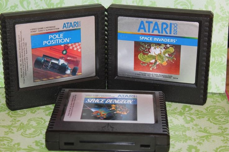 3X Vintage Space Dungeon Atari 5200 game cartridge,Pole Position ,Space Invaders #ATARI
