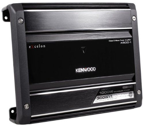 Kenwood X500 X series 500 Watt Digital Mono Car Audio Amplifier with Small Footprint for Easy Installation Anywhere In Your Vehicle 500W Peak Power. 300W RMS x 1 at 4ohms. 500W RMS x 1 at 2ohms. RMS Watts per channel @ 4 ohms, 1% THD+N 83 dBA. Signal to Noise Ratio (Reference: 1 Watt into 4 ohms).  #Kenwood #Car_Audio_or_Theater