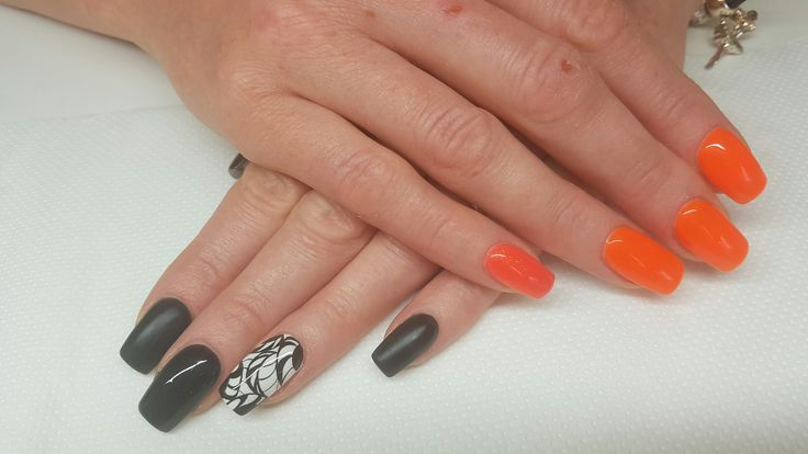 Black is orange nails