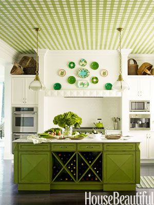 Pea green kitchen. Design: Gideon Mendelson. Photo: Eric Piasecki. housebeautiful.comIdeas, Wine Racks, Kitchens Design, Plates, Colors, Green Kitchens, Islands, Ceilings, White Kitchens