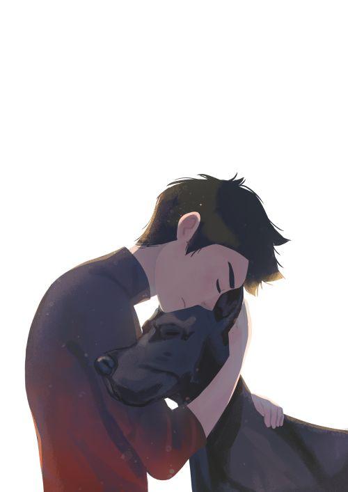 A boy & his dog. Damian Wayne & Titus.