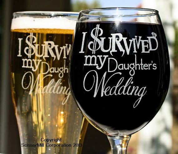 Mom & Dad Gift, Parents Gift, Just Married Gift, I Survived My Daughters Wedding (2) Glasses, Gift for Inlaws, Mother Father of the Bride