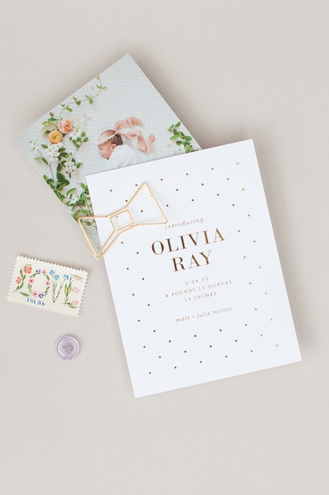 Floral and Gold Foil Polka Dot Baby Announcements by Lauren Chism Fine Papers / Oh So Beautiful Paper
