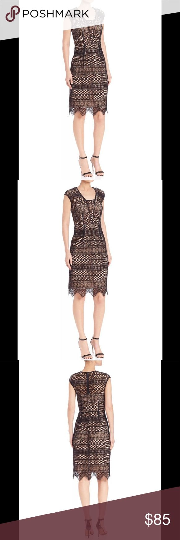"Shoshanna Hilda Corded Lace Dress Sz 2 NWT Black Shoshanna Hilda Corded Lace Dress Sz 2 NWT Black 🌻Brand New Condition with tags. Geometric patterned stripes lend a modern touch to this formfitting lace Shoshanna dress. The elegant piece is designed with a sheer yoke and champagne-tone peek-a-boo lining. Scalloped hem. Back zip. Shell: 45.2% cotton/28.1% rayon/26.7% nylon. Lining: 100% polyester. Dry clean. Made in the USA. Style # SHOSH40869 » Measured Flat;  Bust: 15"" Waist: 13.5""  Hip…"